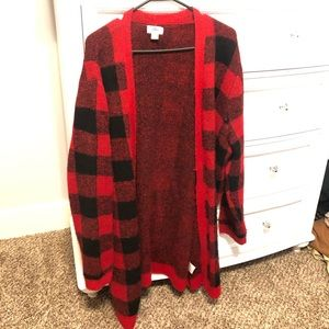 OLD NAVY RED & BLACK PLAID CARDIGAN